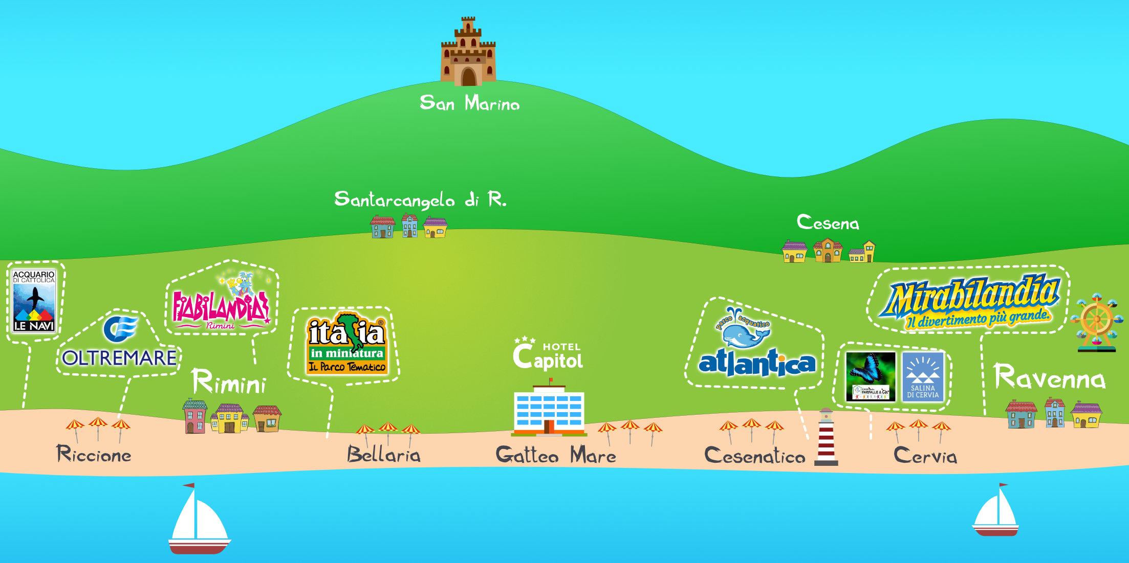 Cartina Riviera Romagnola.Parchi Divertimento In Romagna Top Parchi Riviera Romagnola